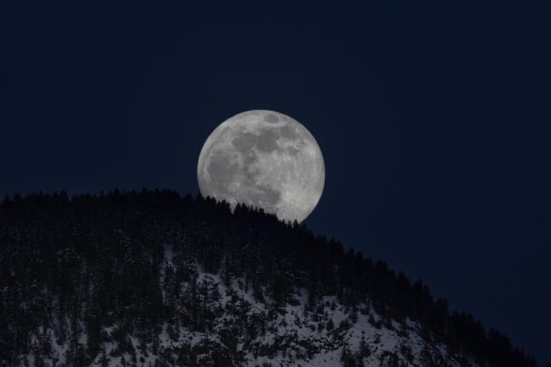 Full Moon Rising Over the Canadian Rockies (Feb 2019)